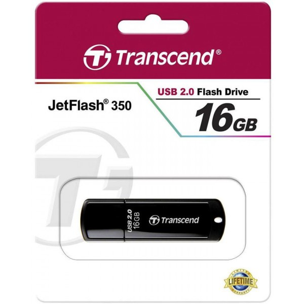 TRANSCEND JetFlash 350 - Flash Drive - 16GB - Black