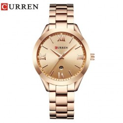 Curren 9007 Women Quartz Watch Calendar - Golden