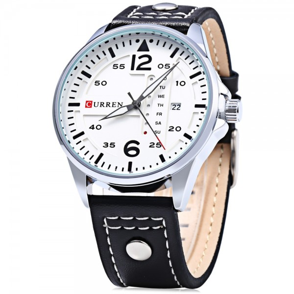 CURREN 8224 Mens Watches Military Sport Wristwatch Leather Strap Men Quartz Watch with box day and date