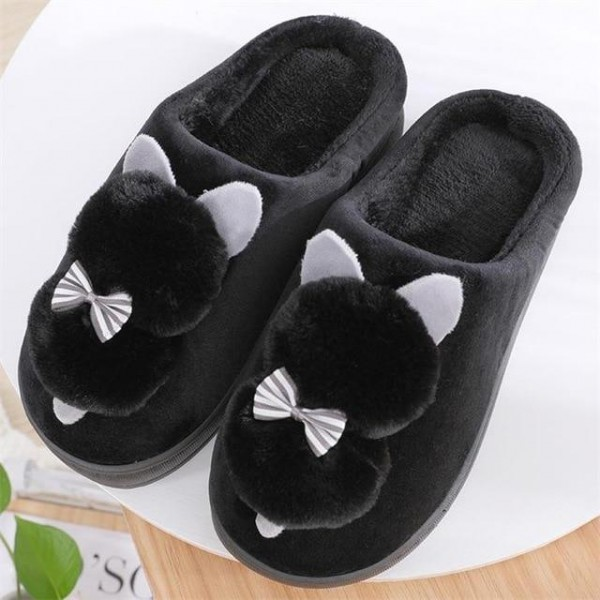 Cute Winter Women's Plush Cotton Indoor Home Slippers