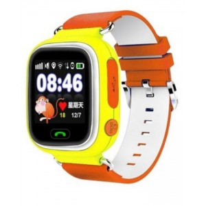 Kids GPS Tracker Smart Watch with SIM Card Slot - Yellow with Orange & White Stripes