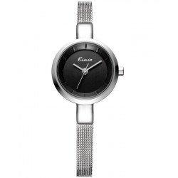 KIMIO Silver Luxury Round Dial Watch + Free Gift Box