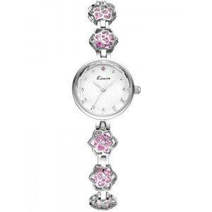 KIMIO Pink Crystal & Silver Bracelet Watch