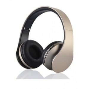 Digital Wireless Stereo 4 in 1 Foldable Headphones with FM Radio - Gold
