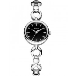 KIMIO Black Dial With Silver Band Wrist Watch + Free Gift Box