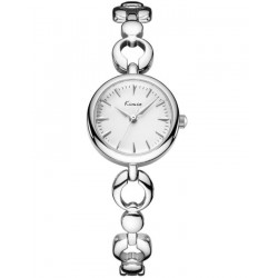 KIMIO White Dial Love Band Exclusive Silver Wrist Watch + Free Gift Box