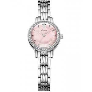 KIMIO Pink Rhinestone Dial With Silver Straps Watch + Free Gift Box