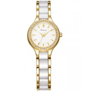 KIMIO Gold Bezel Crystal Wrist Watch + Free Gift Box
