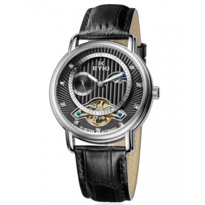 EYKI Elegant Black Gold Dial Automatic Leather Watch