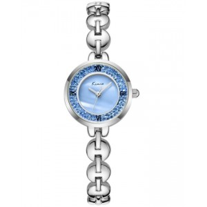 KIMIO Blue Crystals Silver Strap Watch