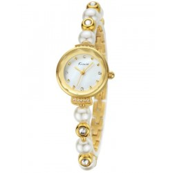 KIMIO Gold and White Pearl Wrist Watch