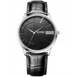 EYKI Executive Black Strap Watch + Free Gift Box