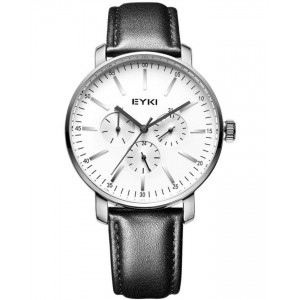 EYKI Executive Black Leather Band Wrist Watch + Free Gift Box