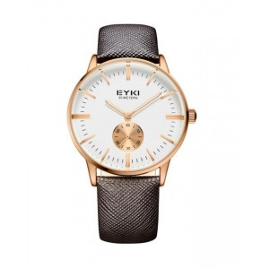 EYKI Brown Leather Strap Watch + Free Gift Box