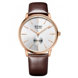 EYKI Gold Brown Strap Elegant Watch + Free Gift Box
