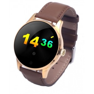 "Smartwatch Top Brand Luxury Fashion Leather Smart Watch - 1.22"" HD IPS Touch Screen - Gold and Brown"