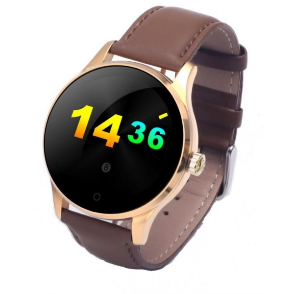 """Smartwatch Top Brand Luxury Fashion Leather Smart Watch - 1.22"""" HD IPS Touch Screen - Gold and Brown"""