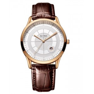 EYKI Gold Bezel With Brown Straps Elegant Watch + Free Gift Box