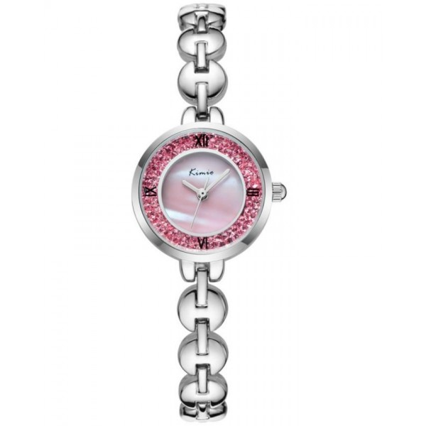 KIMIO Pink Crystals Silver Strap Ladies Watch