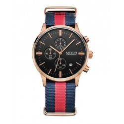 Megir Rose Gold Sport Quartz Watch With Blue-Red Canvas Strap and Black Dial