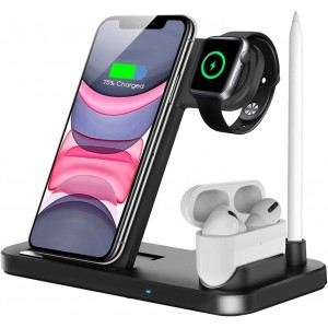 4 in 1 Wireless Fast Charging Station for Apple Watch, Airpods & iPhone