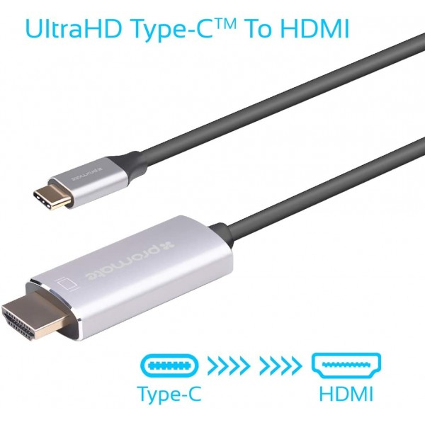 Promate USB-C to HDMI Cable, Premium USB Type-C to 4K 60Hz HDMI Cable Adapter