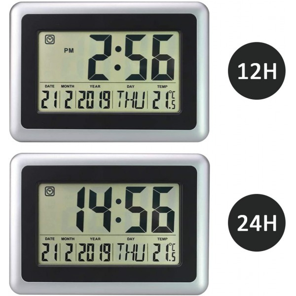 Digital LED Wall Clock With Alarm,Date,Thermometre Table Top