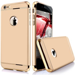 iPaky Chrome 3 Piece Hybrid Protective Back Case Cover for Apple iPhone 6/6S  - Gold