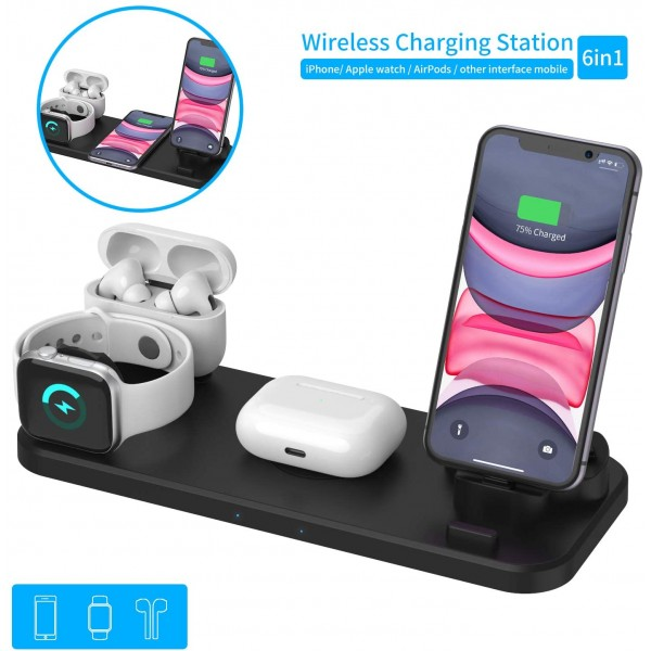 6 in 1 Wireless Charging Station for iPhone and Android Type C