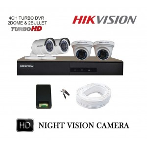 Hikvision Full HD (2MP) 4 CCTV Camera & 4Ch.Full HD DVR Kit