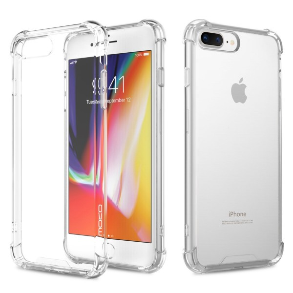iPhone 7 Plus/8 Plus Crystal Clear Case Shockproof TPU Edge + Rigid PC Hard Back Cover