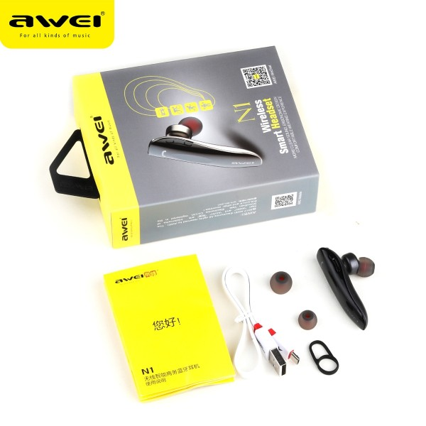 Awei N1 Single Wireless Bluetooth Earphone Portable Multipoint Bussiness Earbuds Headphone with Mic