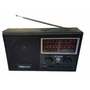 Atkenson AT-6035 Portable MP3-player- FM/AM/SW - 3-Band-Rechargeable Radio - Bl­­ack