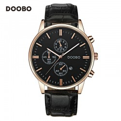 Doobo Men's Leather  Quartz-Watch With Date