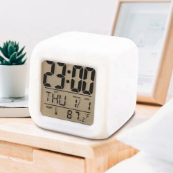 Glowing LED 7- Color Change Digital Alarm Clock/Thermometer