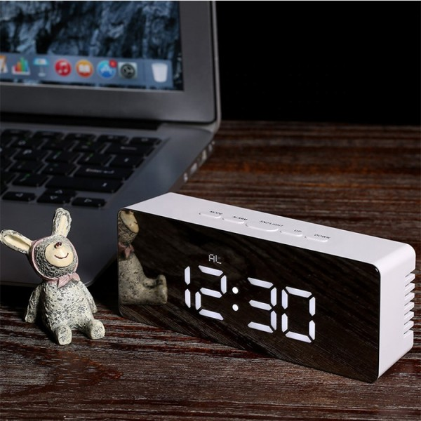 Mirror LED Backlit Digital Alarm Clock With Thermometer