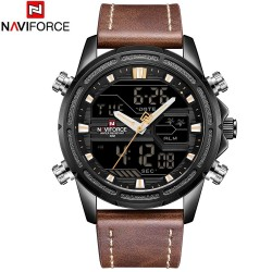 NAVIFORCE 9138 Male Quartz LCD Digital Watch Calendar Leather Band Wristwatch