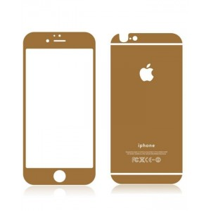 Apple Front + Back Gold-Mirror Tempered Glass Film Screen Protector for iPhone 6 - Gold