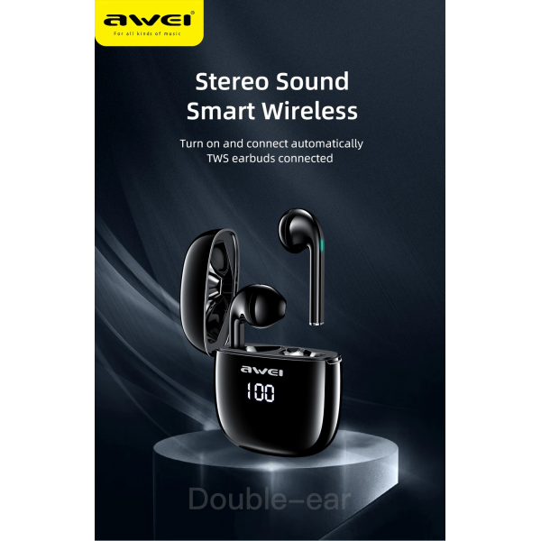 Awei T28P Bluetooth V5.0 TWS Ture Wireless Sports LED Display Headset with Charging Case