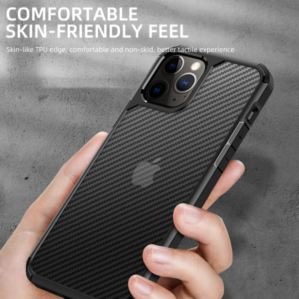 iPAKY Pioneer Series Carbon Fiber Texture Shockproof TPU + PC Case For iPhone 12 / 12 Pro