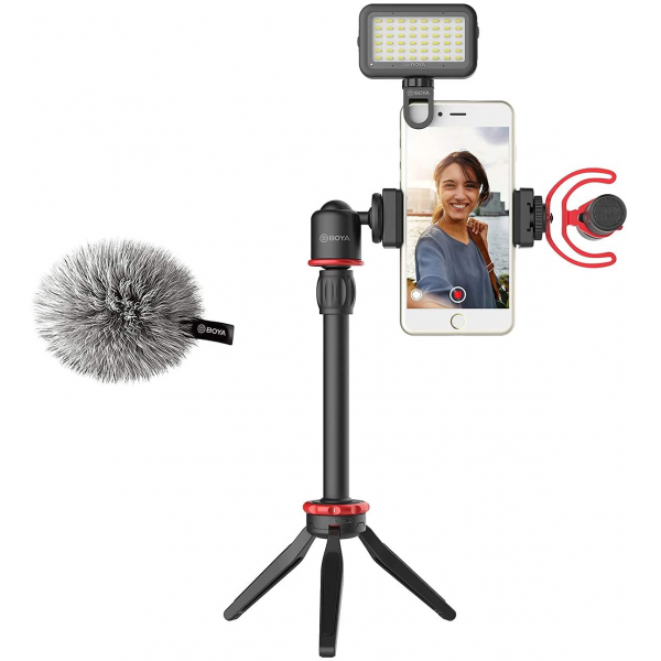 BOYA VG350 Smartphone Video Rig with Mini Tripod, Extension Tube, LED Light and Video Microphone