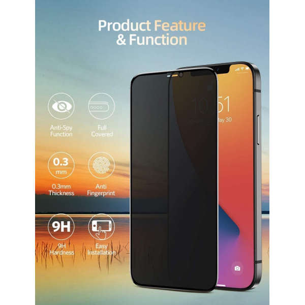 Anti-Glare Privacy Tempered Glass Screen Protector for iPhone 11,11 Pro,11 Pro Max
