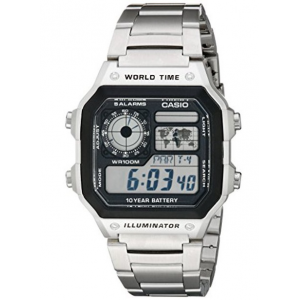 Casio Men's AE-1200WHD-1A Silver Stainless-Steel Quartz Watch with Digital Dial