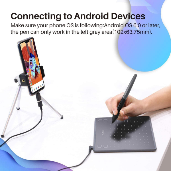 HUION HS64 Graphics Drawing Tablet with Battery-Free Stylus for Android Windows macOS