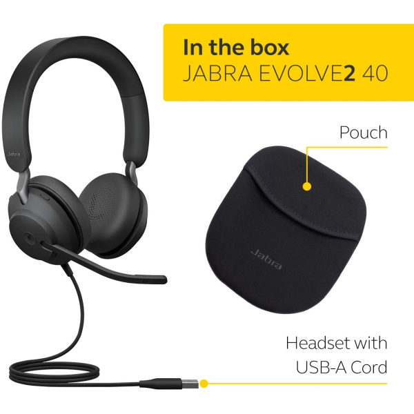 Jabra Evolve2 40 MS Stereo Wired On-Ear Headset (Unified Communication, USB Type-A, Black)
