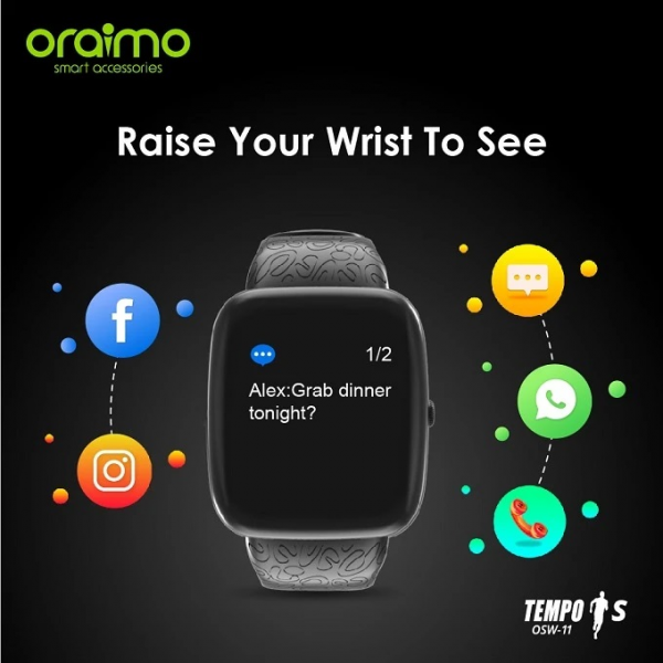 Oraimo Tempo-S IP67 Waterproof Smart Watch - Black