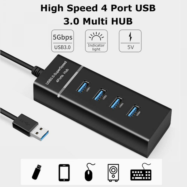 High Speed 4 Port USB 3.0 Multi HUB Splitter Expansion USB Hub