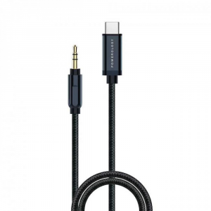 Powerology Aluminum Braided Audio Cable USB-C to 3.5mm AUX 1.2M