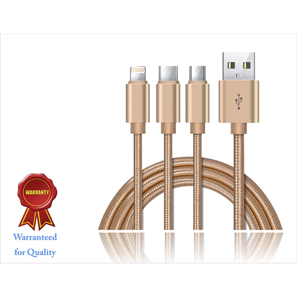 XCELL CB-120MLC 3-in-1 Fast Charging Cable - MicroUSB+Lightning+USB Type-C