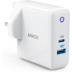 Anker PowerPort PD+ 2 – 33W 2-Port USB-C Charger with Power Delivery and PowerIQ 2.0